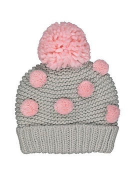 Grey And Pink Pom Beanie by Mothercare
