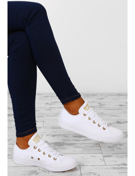 Chuck Taylor Converse All Star Ox White And Gold Trainers by Pink Boutique