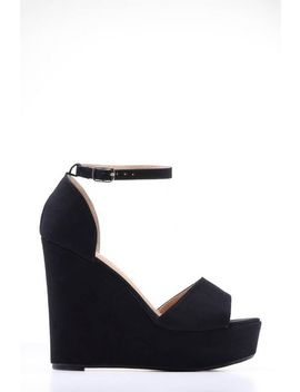 Black Peep Toe Frill Wedge by Trendeo