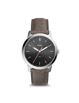 The Minimalist Three Hand Gray Leather Watch by Fossil