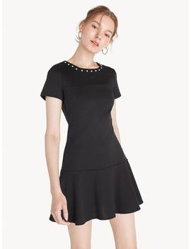 Beaded Neck Ruffle Dress   Black by Pomelo
