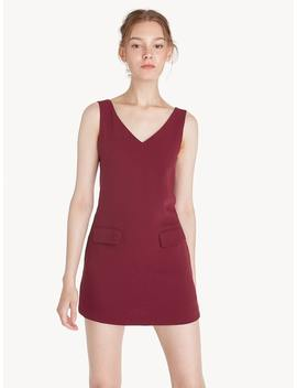 Mini V Neck Front Pocket Dress   Red by Pomelo
