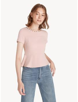 Beaded Collar Fit And Flare Top   Baby Pink by Pomelo