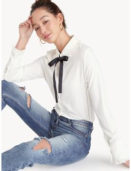 Bow Tie Ruffle Accent Shirt by Pomelo
