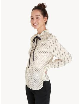 Polka Dot Tie Neck Shirt   White by Pomelo