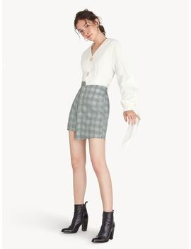 Mini Asymmetric Glen Plaid Skirt   Gray by Pomelo