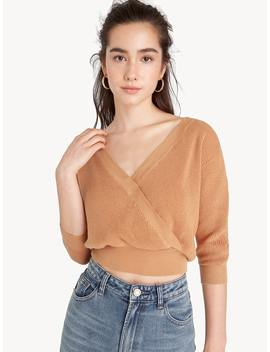 Cropped Knit Surplice Top   Orange by Pomelo