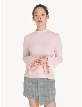 Mock Neck Flounce Sleeve Top   Baby Pink by Pomelo