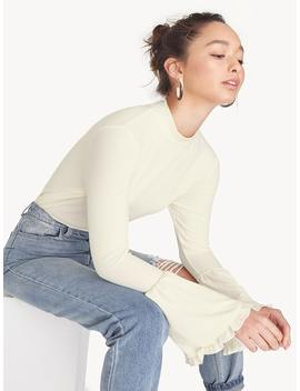 Mock Neck Flounce Sleeve Top   White by Pomelo
