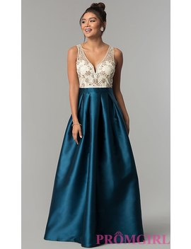 Long Teal Blue Satin Formal Prom Dress By Prom Girl by Promgirl