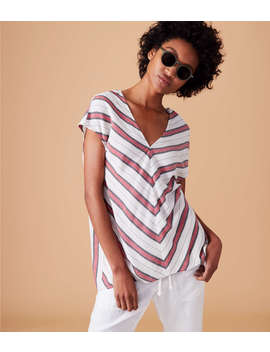Lou &Amp; Grey Striped Double V Top by Lou & Grey