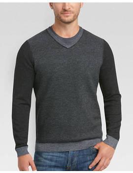 Joe Joseph Abboud Black Slim Fit V Neck Sweater by Mens Wearhouse