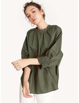 Oversized Pleated Neck Blouse   Green by Pomelo