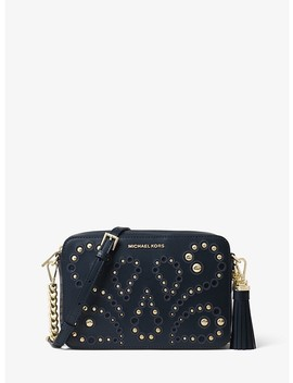 Ginny Medium Embellished Leather Crossbody by Michael Kors
