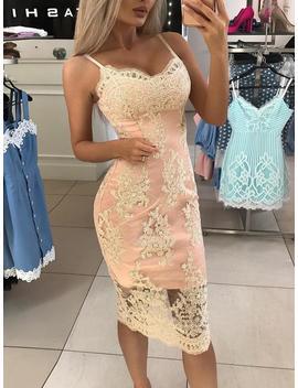 Spaghetti Strap Crochet Lace Overlay Bodycon Dress by Ivrose