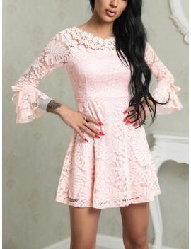 Crochet Lace Flared Sleeve Mini Dress by Ivrose