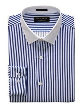 Slim Fit Premium Cotton Banker Stripe Shirt by Banana Republic Factory
