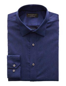 Slim Fit Non Iron Navy Textured Shirt by Banana Republic Factory