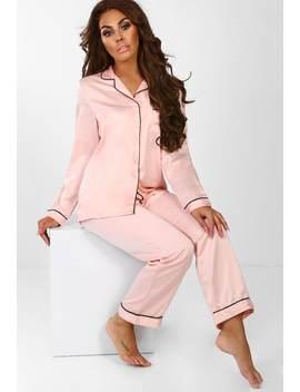 So Dreamy Pink Satin Trouser Pj Set by Pink Boutique