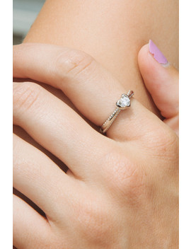 Silver Heart Rhinestone Ring by Brandy Melville