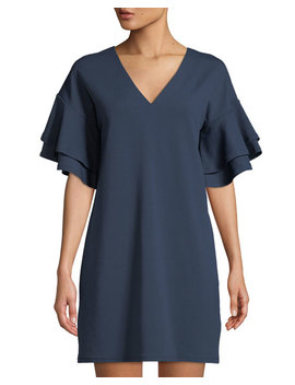 Ruffle Tiered Sleeve Crepe T Shirt Dress by Kensie