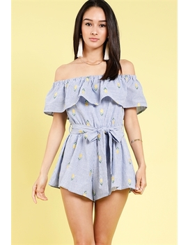 Pineapple Embroidered Off The Shoulder Romper by Papaya