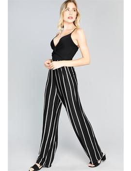 Striped Front Twist Jumpsuit by Papaya