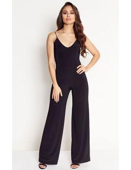 Black Kimber V Back Wide Leg Jumpsuit by Pleat Boutique