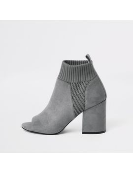 Grey Knitted Block Heel Shoe Boots by River Island