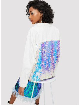 Contrast Sequin Raw Hem Button Up Coat by Shein