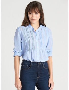 Popover Pintuck Shirt In End On End Cotton by Gap