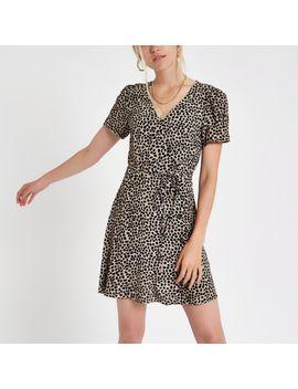 Black Leopard Print Button Through Mini Dress by River Island