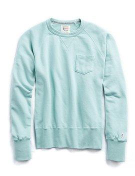 Classic Pocket Sweatshirt In Vintage Aqua by Todd Snyder + Champion