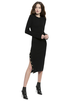 Selena Long Sleeve Side Slit Sweater Midi Dress by Alice And Olivia