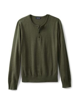 Men's Cotton Cashmere Henley Sweater by Lands' End