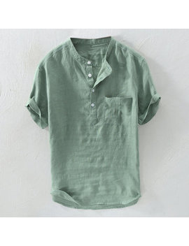 Mens 100% Cotton Breathable Vintage Chinese Style Solid Color Loose Casual Buttons T Shirts by Newchic
