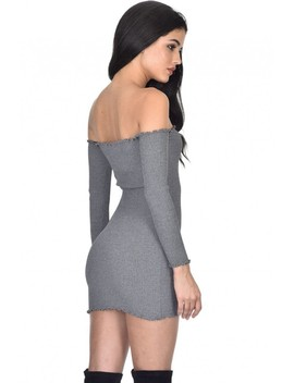 Grey Bardot Ruffle Detail Knit Dress by Ax Paris
