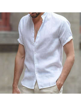 Two Sided Mens Casual Thin Solid Color Breathable Short Sleeve Cotton Linen Shirts by Newchic
