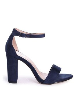 Nelly   Navy Suede Single Sole Block Heel by Trendeo