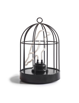Neon Bird In A Cage Lamp by Suck Uk
