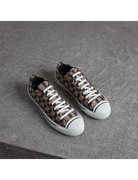 Tiled Archive Print Cotton Sneakers by Burberry