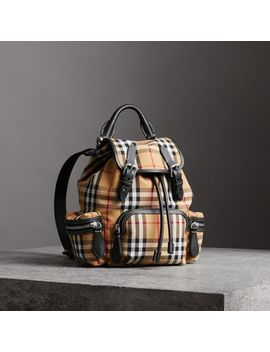 The Small Rucksack In Vintage Check And Leather by Burberry