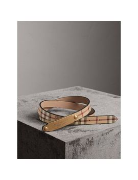Plaque Buckle Haymarket Check And Leather Belt by Burberry