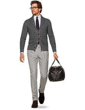 Dark Grey Shawl Collar Cardigan by Suitsupply