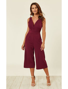 Plum Plunge Neck Culottes Jumpsuit by Wal G