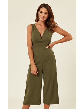 Plunge Neck Culottes In Khaki Green by Wal G