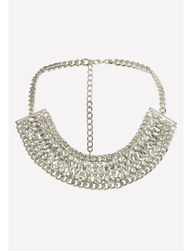 Gray Crystal Chain Necklace by Bebe