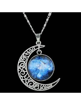 Artificial Gem Moon Round Pendant Necklace by Gamiss