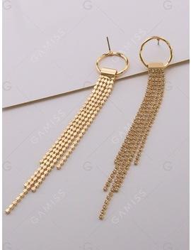 Faux Diamond Metal Fringe Stud Drop Earrings by Gamiss