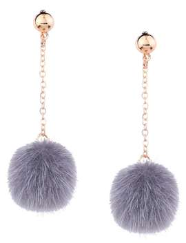Fuzzy Ball Chain Drop Earrings by Gamiss